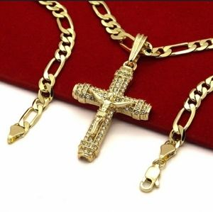 Coming soon💎Mens Iced Out cross and Figaro chain